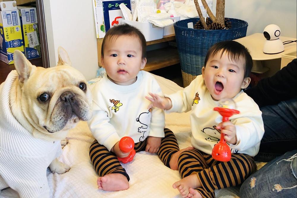 双子の子どもたちとプースケくん